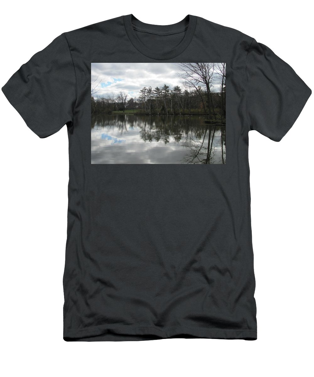 Lagoon Men's T-Shirt (Athletic Fit) featuring the photograph Lagoon Reflection 1 by Anita Burgermeister