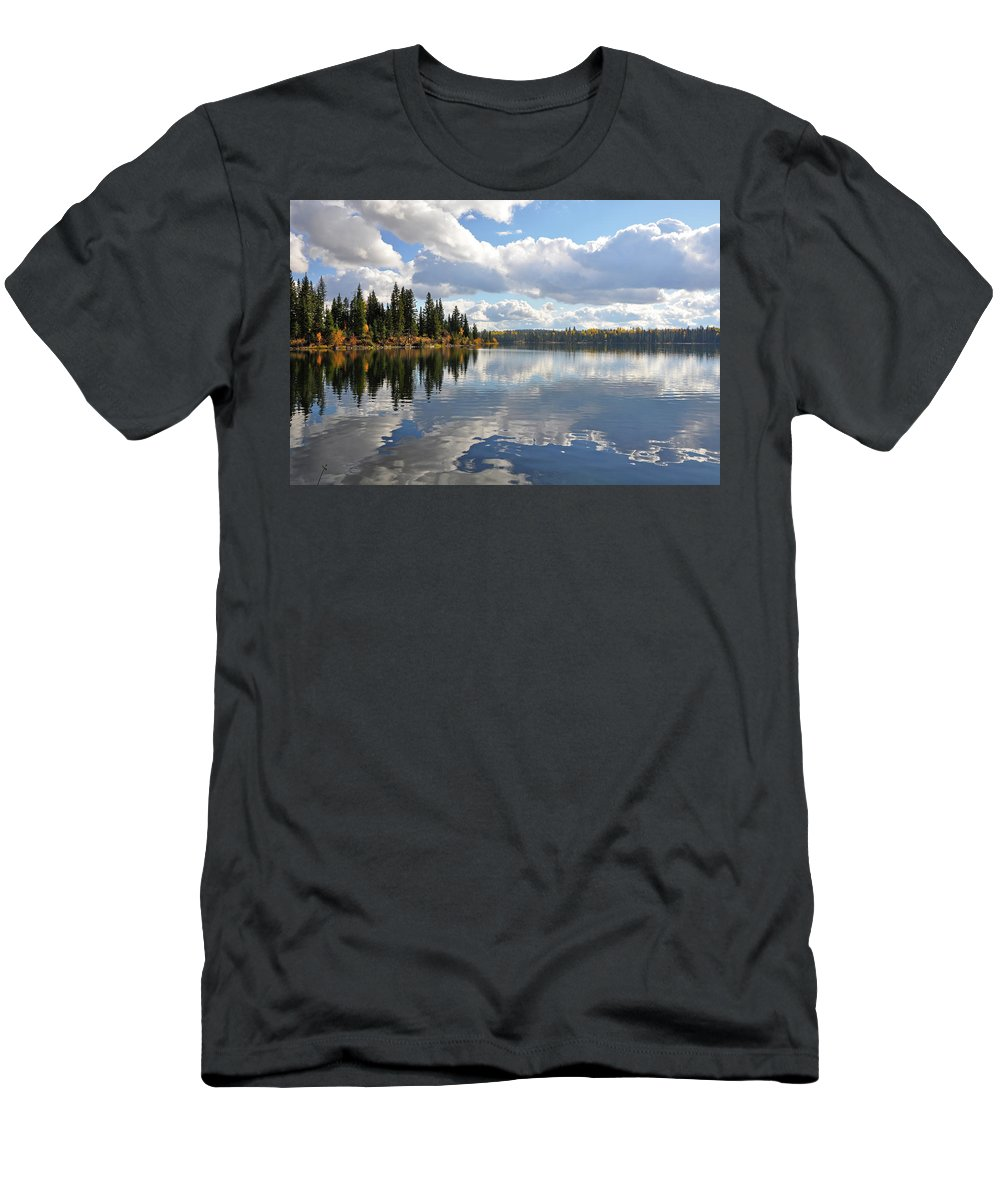 Lake Men's T-Shirt (Athletic Fit) featuring the photograph Lake And Clouds by Perl Photography