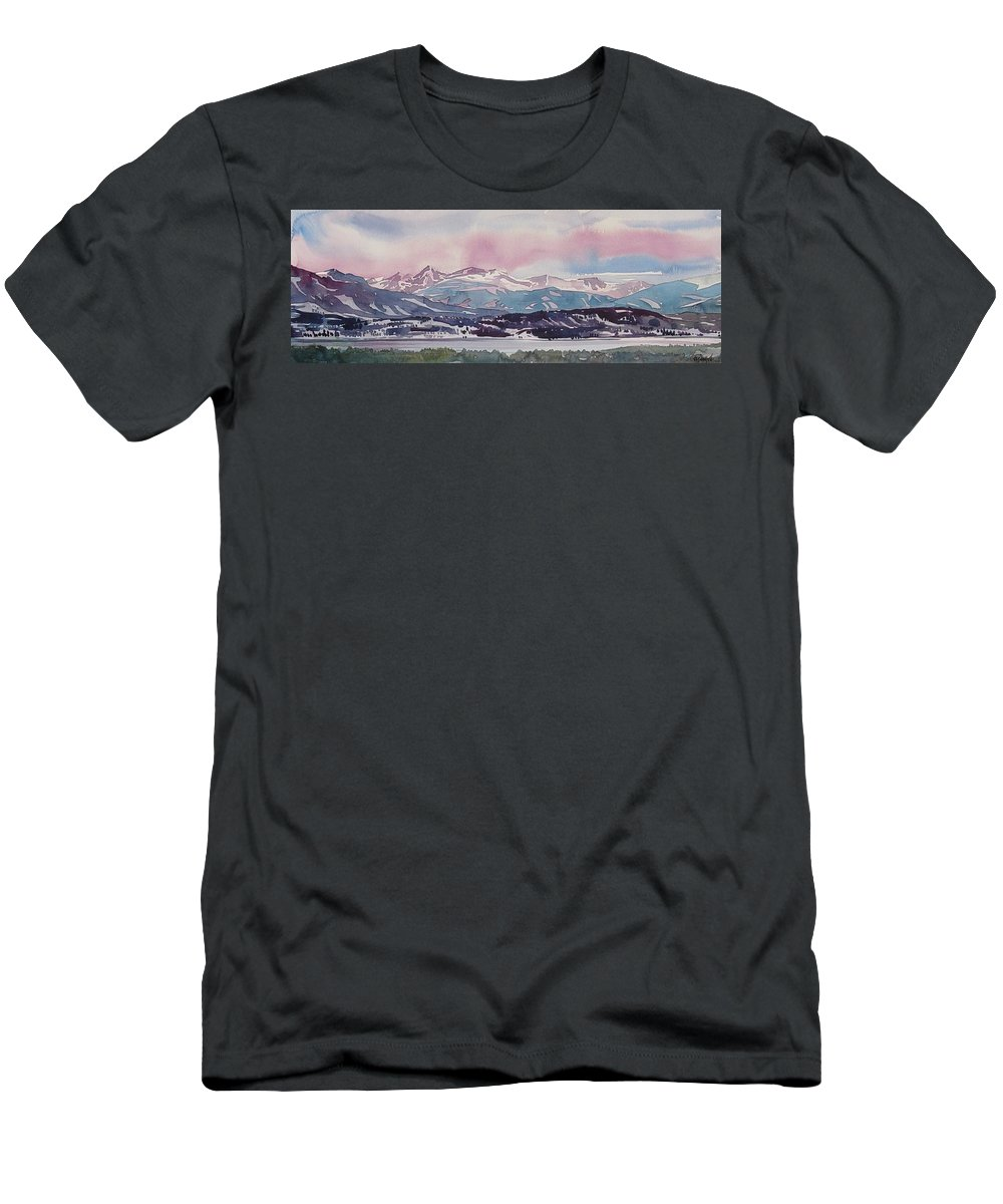 Colorado Landscape Men's T-Shirt (Athletic Fit) featuring the painting Lake Dillon by Ugljesa Janjic