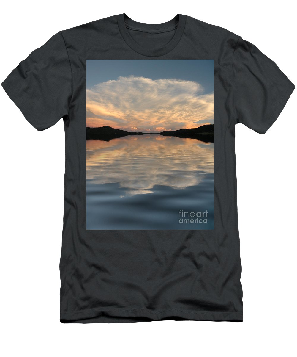 Water Men's T-Shirt (Athletic Fit) featuring the photograph Lake Front Sunset by Jerry McElroy