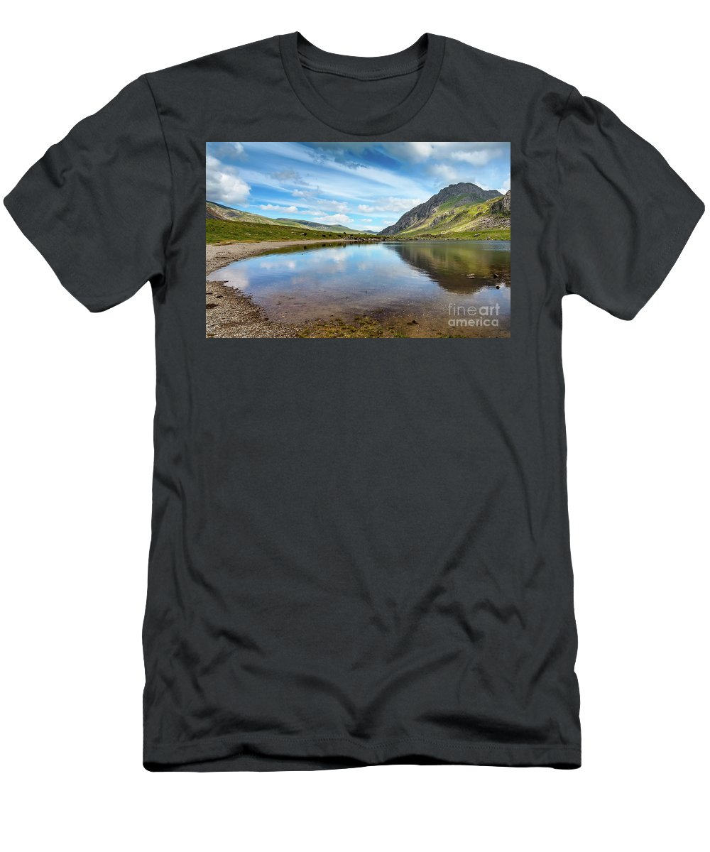 Snowdonia Lake Men's T-Shirt (Athletic Fit) featuring the photograph Lake In Snowdonia by Adrian Evans