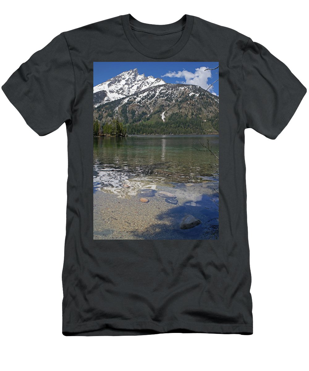 Grand Tetons Men's T-Shirt (Athletic Fit) featuring the photograph Lake Jenny Grand Tetons by Heather Coen