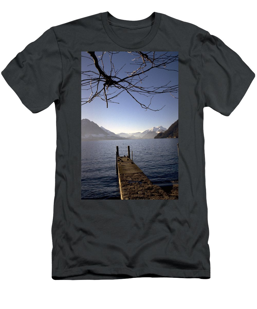 Lake Lucerne Men's T-Shirt (Athletic Fit) featuring the photograph Lake Lucerne by Flavia Westerwelle