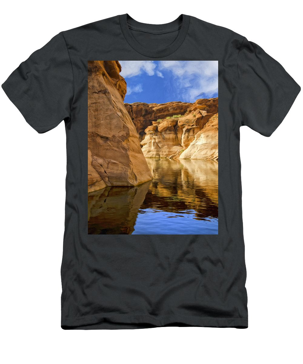 Morning Men's T-Shirt (Athletic Fit) featuring the painting Lake Powell Stillness by Dominic Piperata