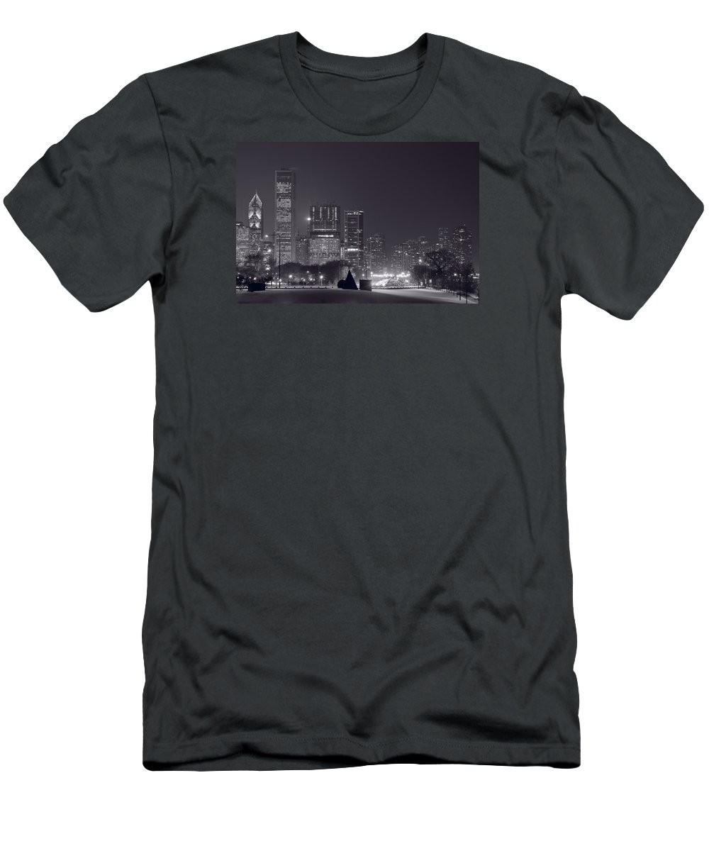 Building Men's T-Shirt (Athletic Fit) featuring the photograph Lake Shore Drive Chicago B And W by Steve Gadomski