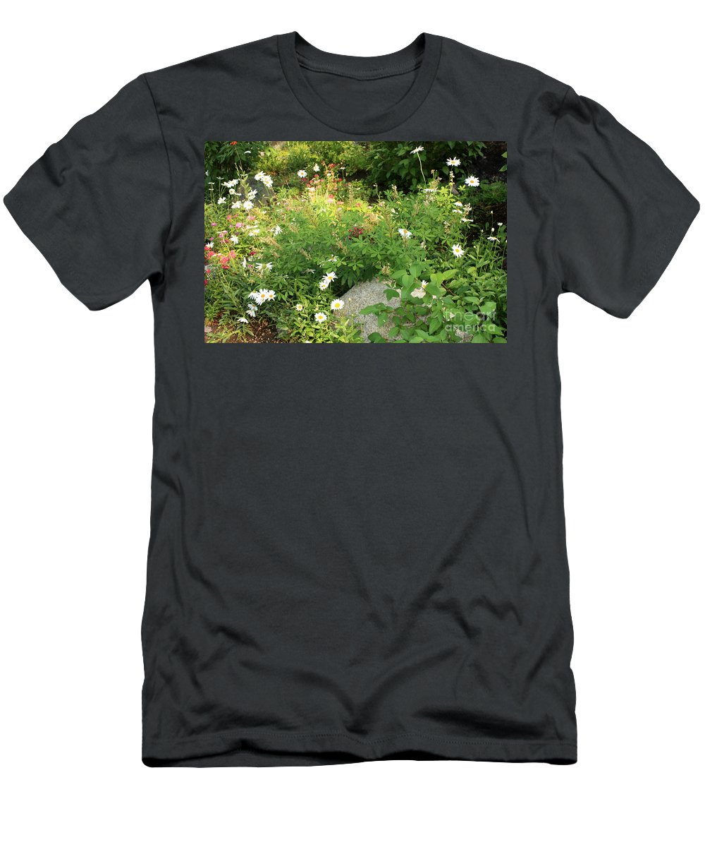 Lake Tahoe Men's T-Shirt (Athletic Fit) featuring the photograph Lake Tahoe Flower Garden by Carol Groenen