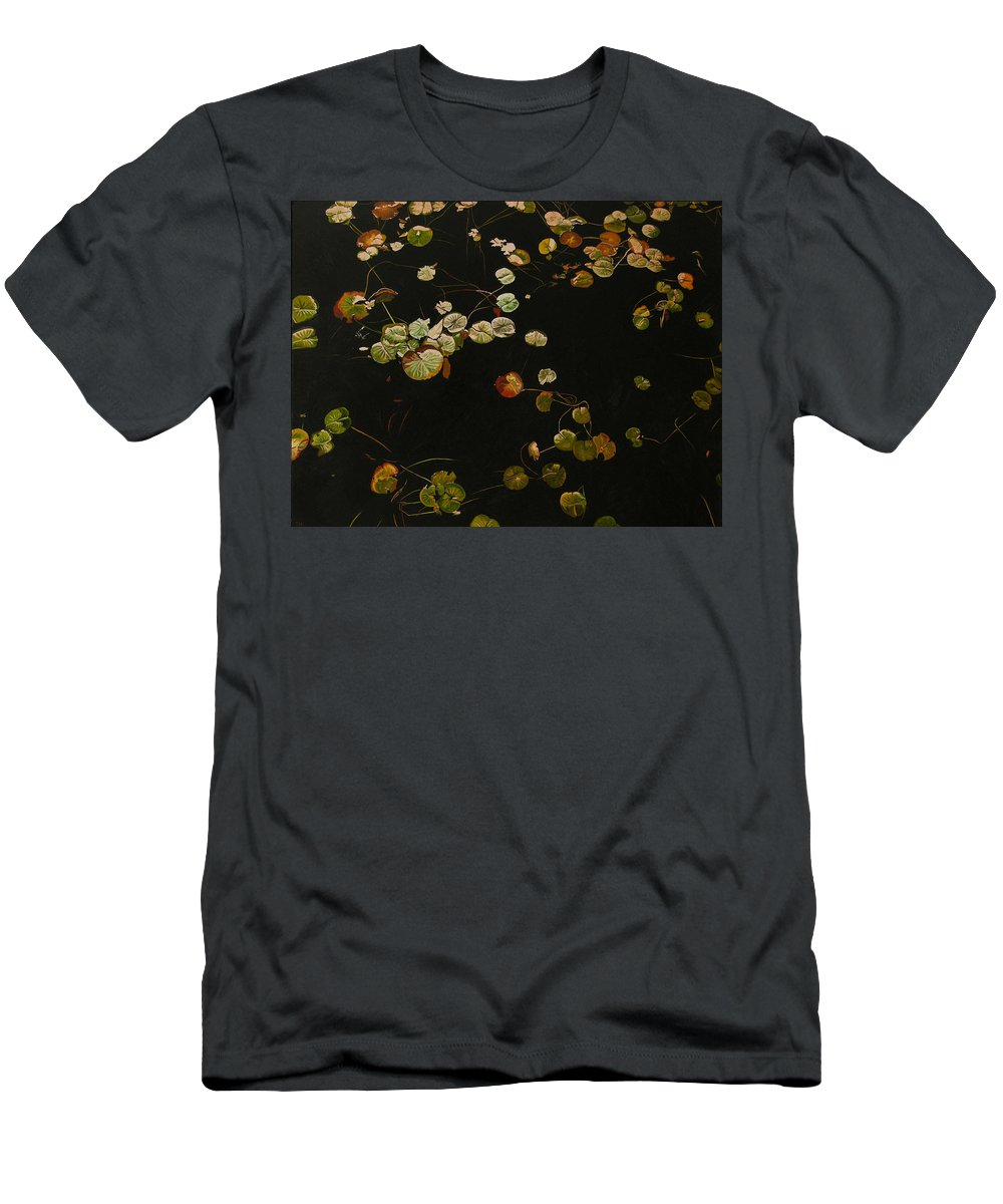 Lilypad Men's T-Shirt (Athletic Fit) featuring the painting Lake Washington Lily Pad 12 by Thu Nguyen