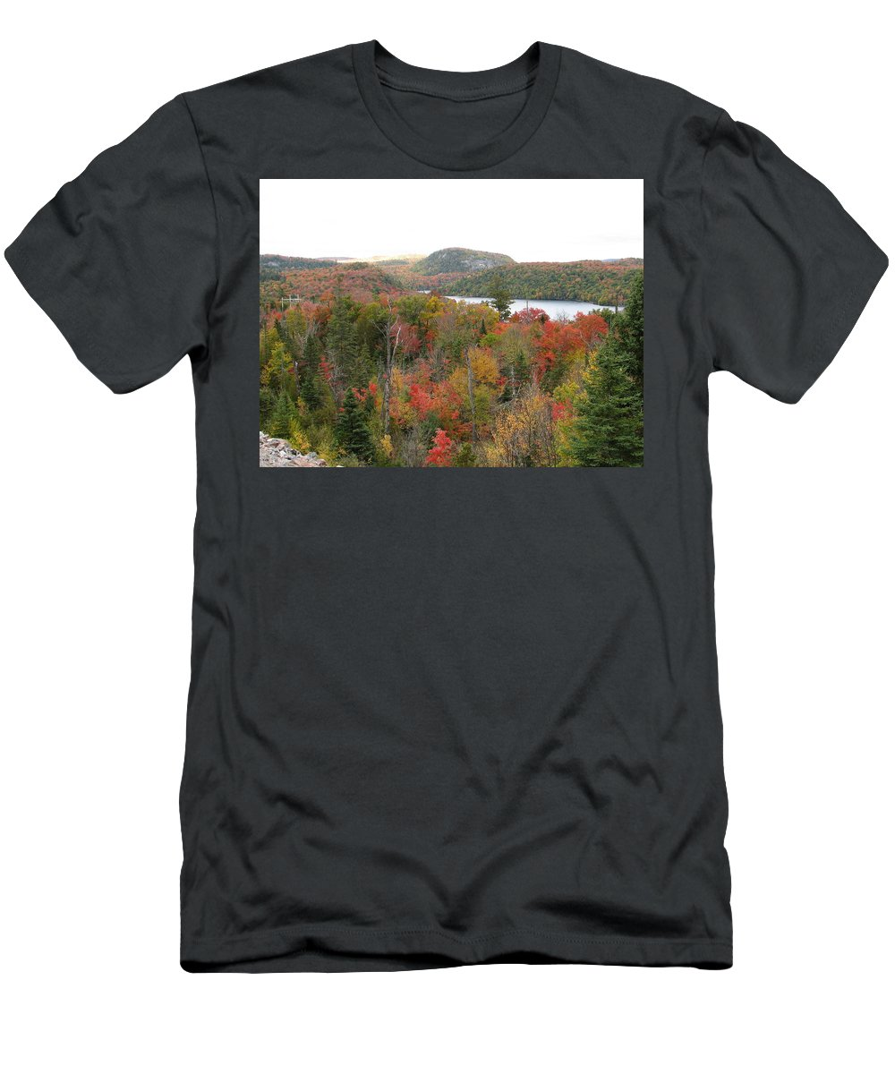 Fall Men's T-Shirt (Athletic Fit) featuring the photograph Lakeside by Kelly Mezzapelle