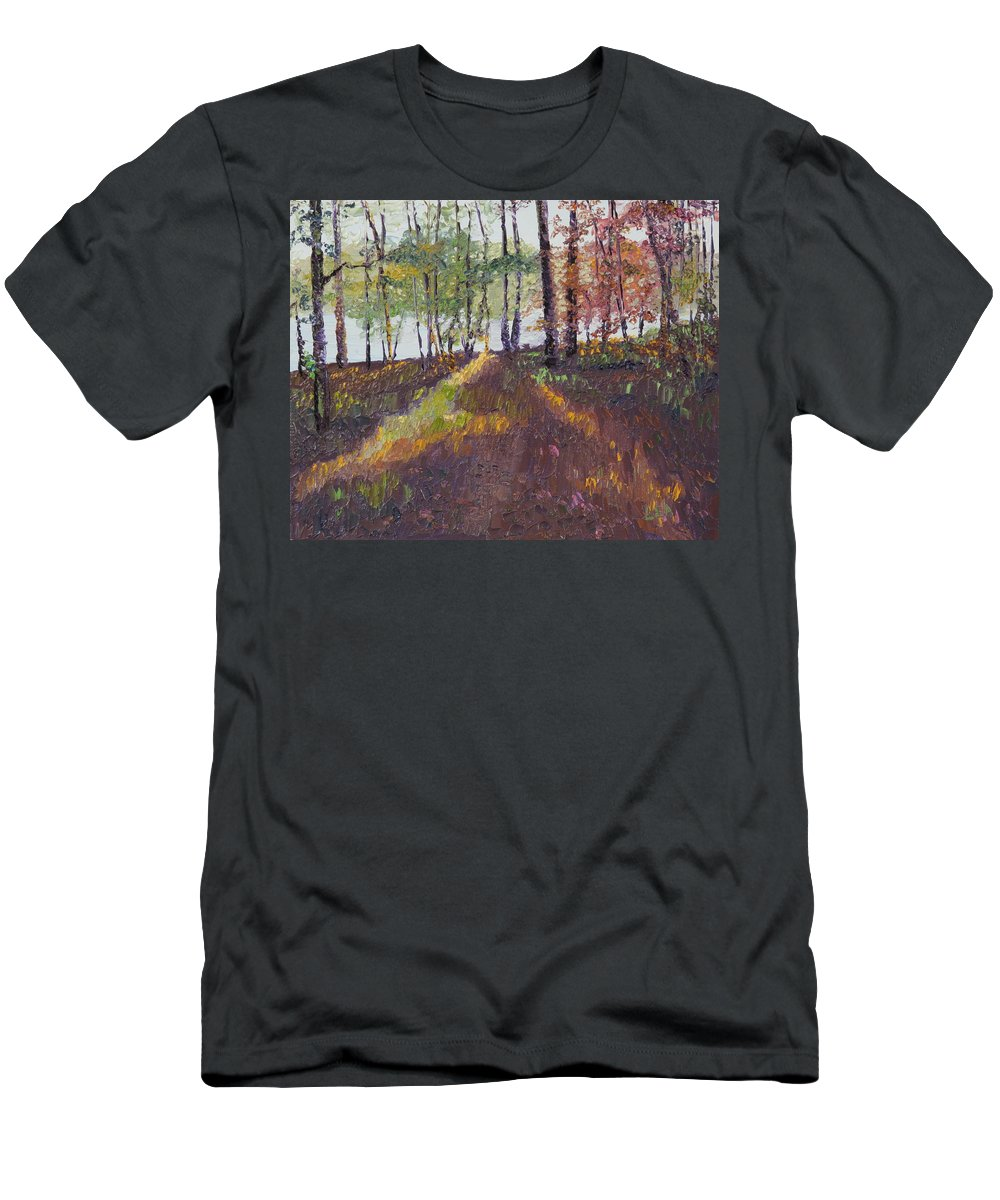 Landscape Men's T-Shirt (Athletic Fit) featuring the painting Lakeside Shadows by Lea Novak