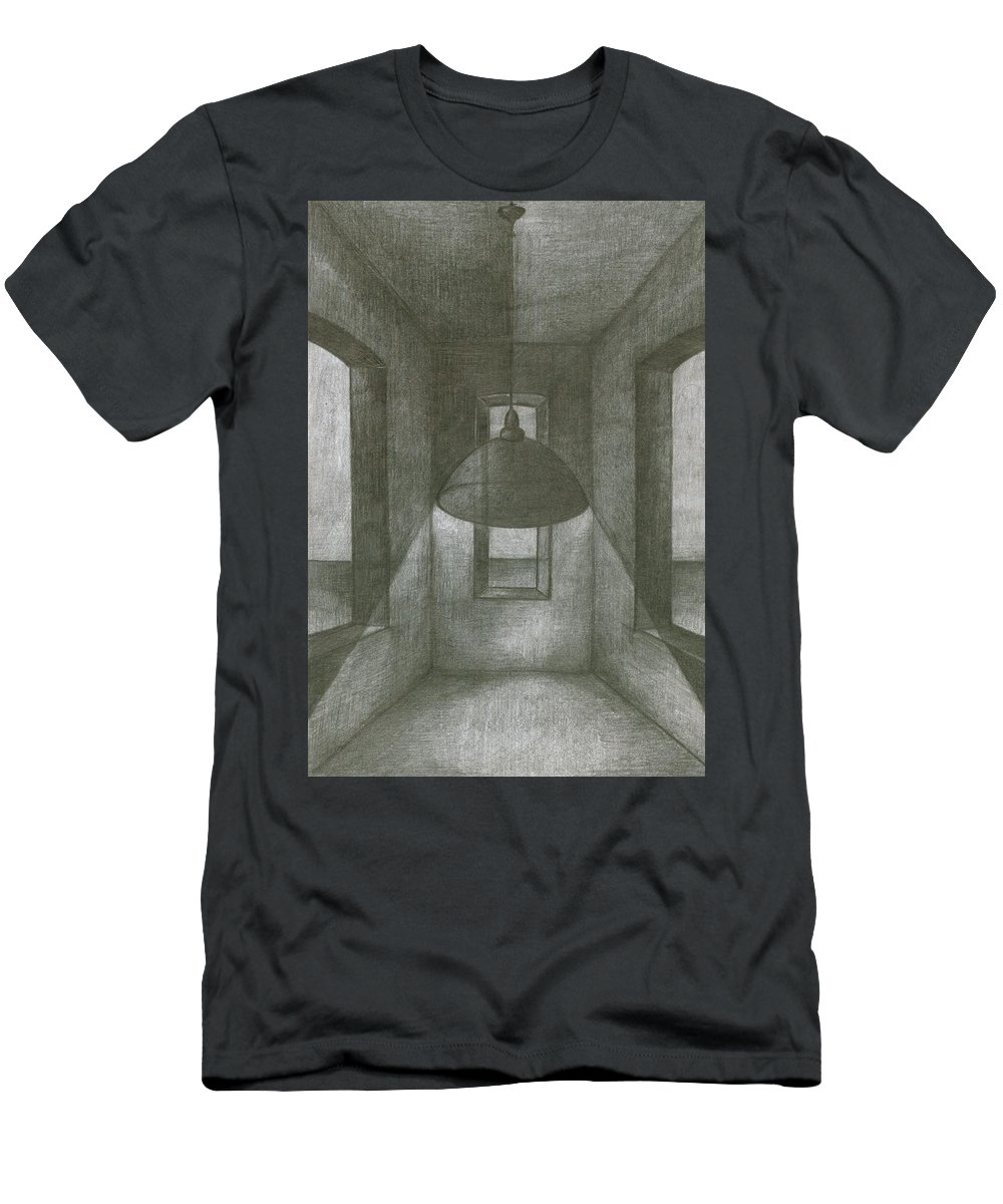 Psychedelic Men's T-Shirt (Athletic Fit) featuring the drawing Lamp by Wojtek Kowalski