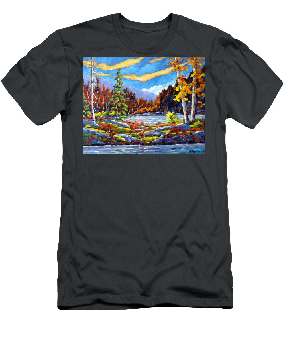 Art For Sale Men's T-Shirt (Athletic Fit) featuring the painting Land Of Lakes by Richard T Pranke