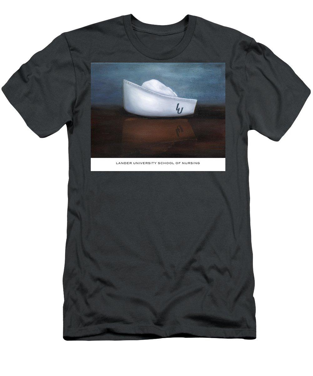 Lander University Men's T-Shirt (Athletic Fit) featuring the painting Lander University School Of Nursing by Marlyn Boyd