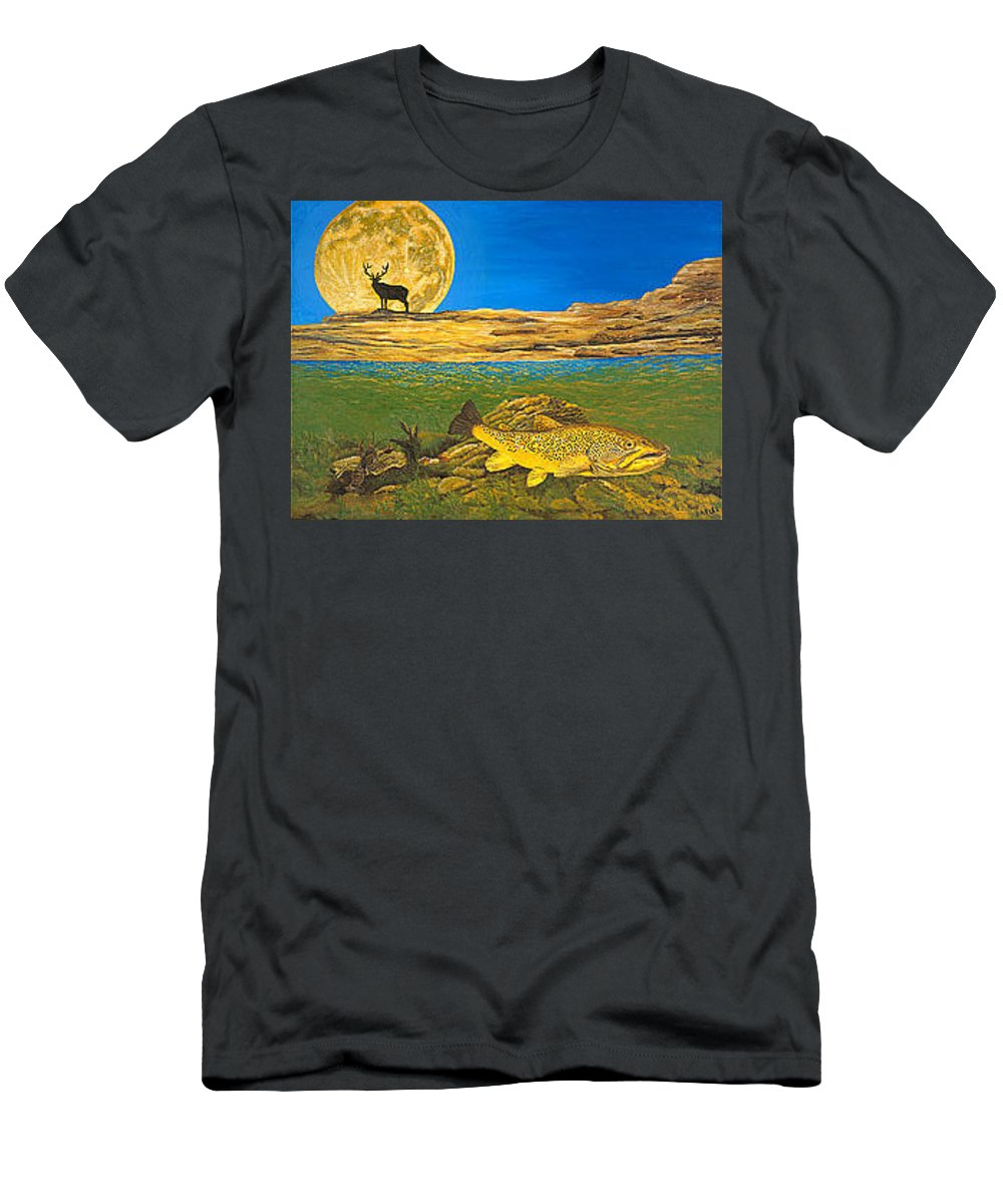 Artwork T-Shirt featuring the painting Landscape Art Fish Art Brown Trout TIMING Bull Elk Full Moon Nature Contemporary Modern Decor by Patti Baslee