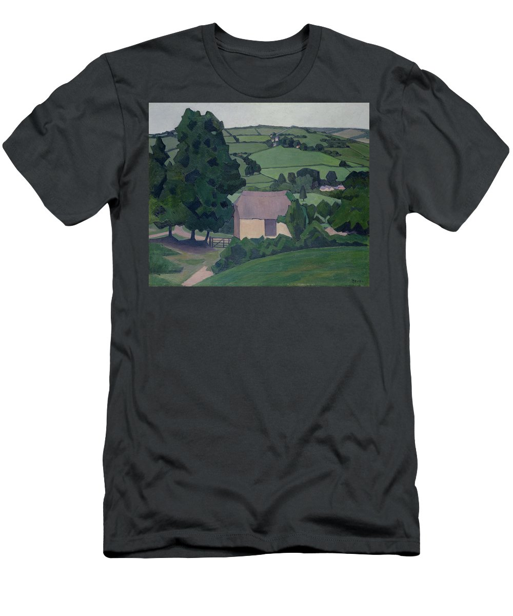 Landscape Men's T-Shirt (Athletic Fit) featuring the painting Landscape With Thatched Barn by Robert Polhill Bevan