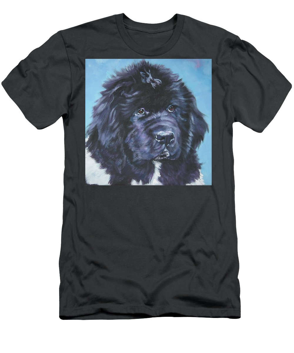 Landseer Newfoundland Puppy Men's T-Shirt (Athletic Fit) featuring the painting Landseer Newfoundland Puppy by Lee Ann Shepard