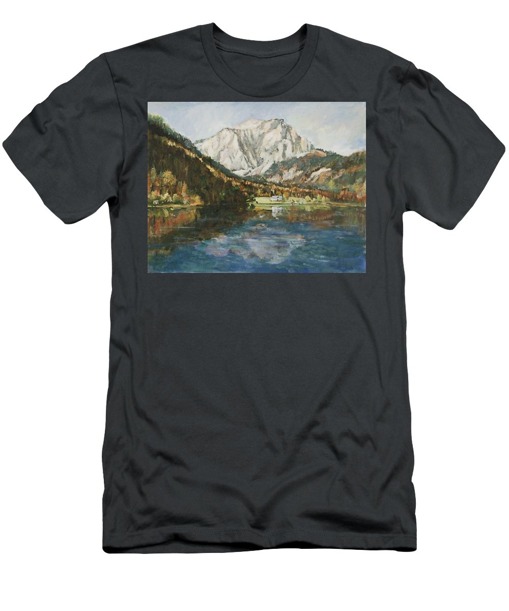 Landscape Men's T-Shirt (Athletic Fit) featuring the painting Langbathsee Austria by Alexandra Maria Ethlyn Cheshire