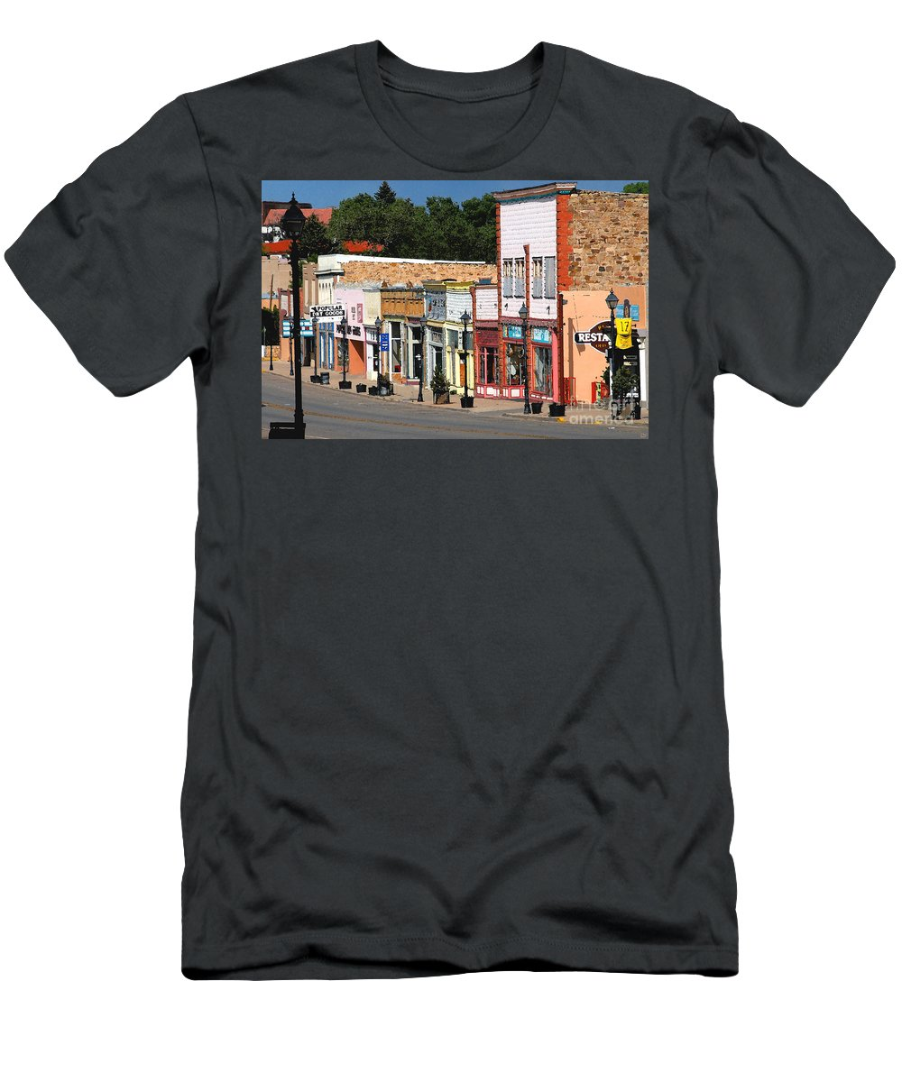Las Vegas New Mexico Men's T-Shirt (Athletic Fit) featuring the painting Las Vegas New Mexico by David Lee Thompson