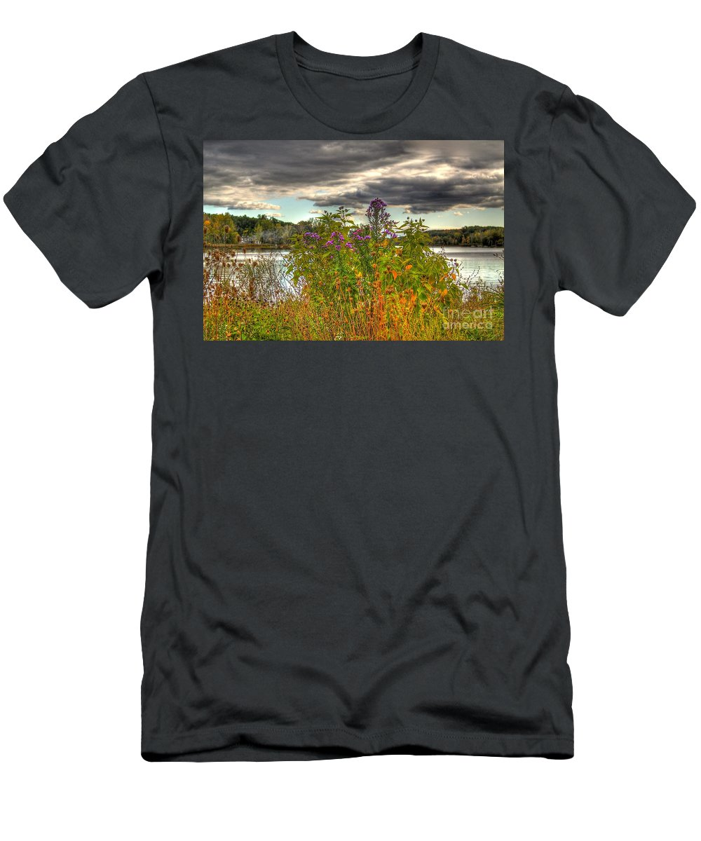 Autumn Men's T-Shirt (Athletic Fit) featuring the photograph Last Flower Of Fall by Robert Pearson