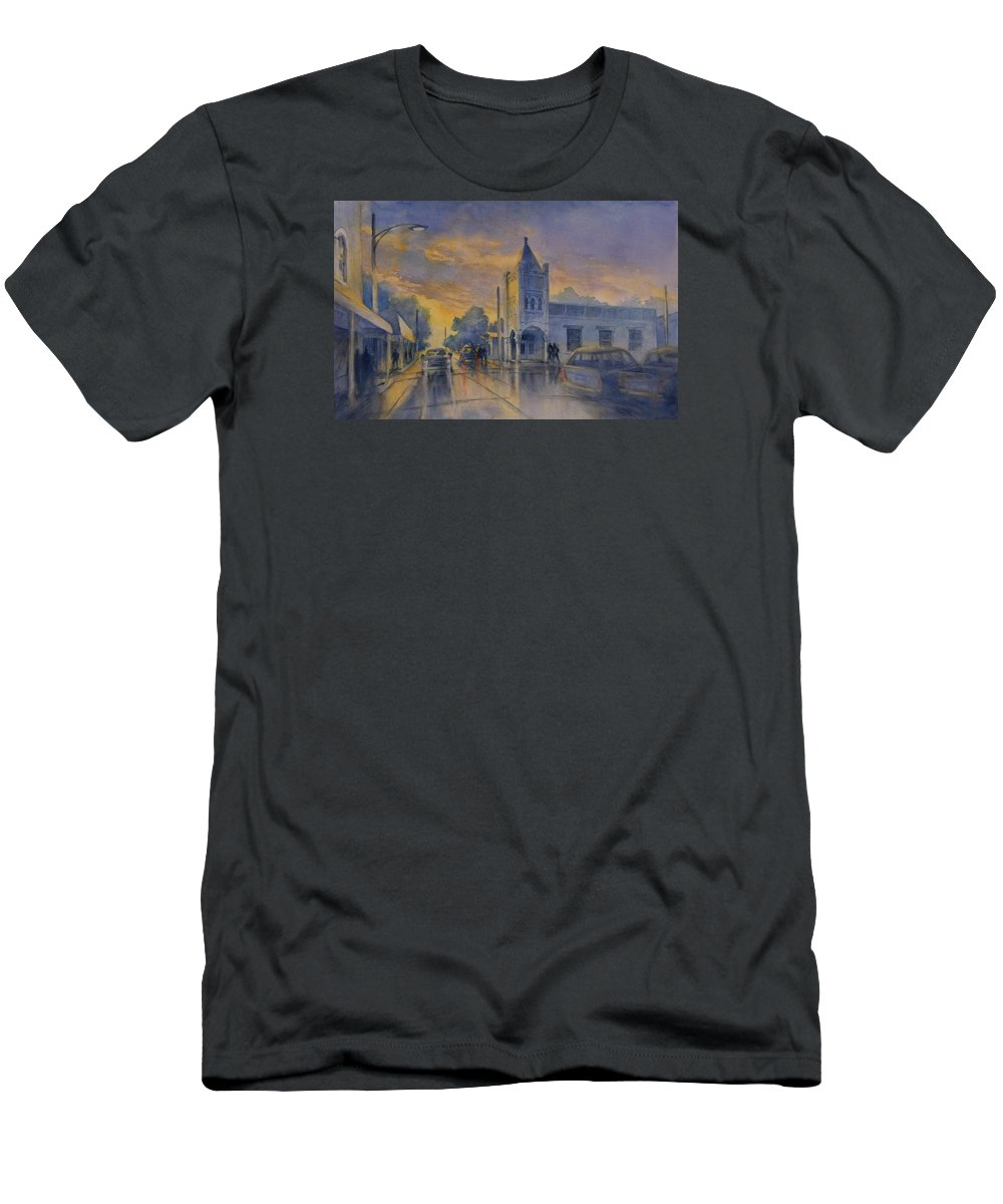 Landscape T-Shirt featuring the painting Last Light, High Street At Seventh by Virgil Carter