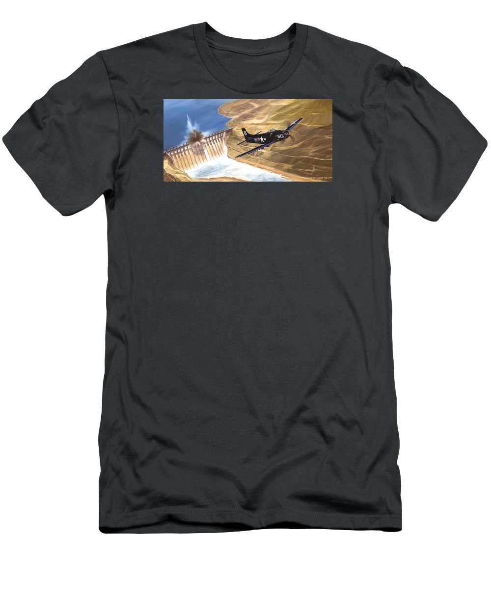 Military T-Shirt featuring the painting Last of the Dambusters by Marc Stewart