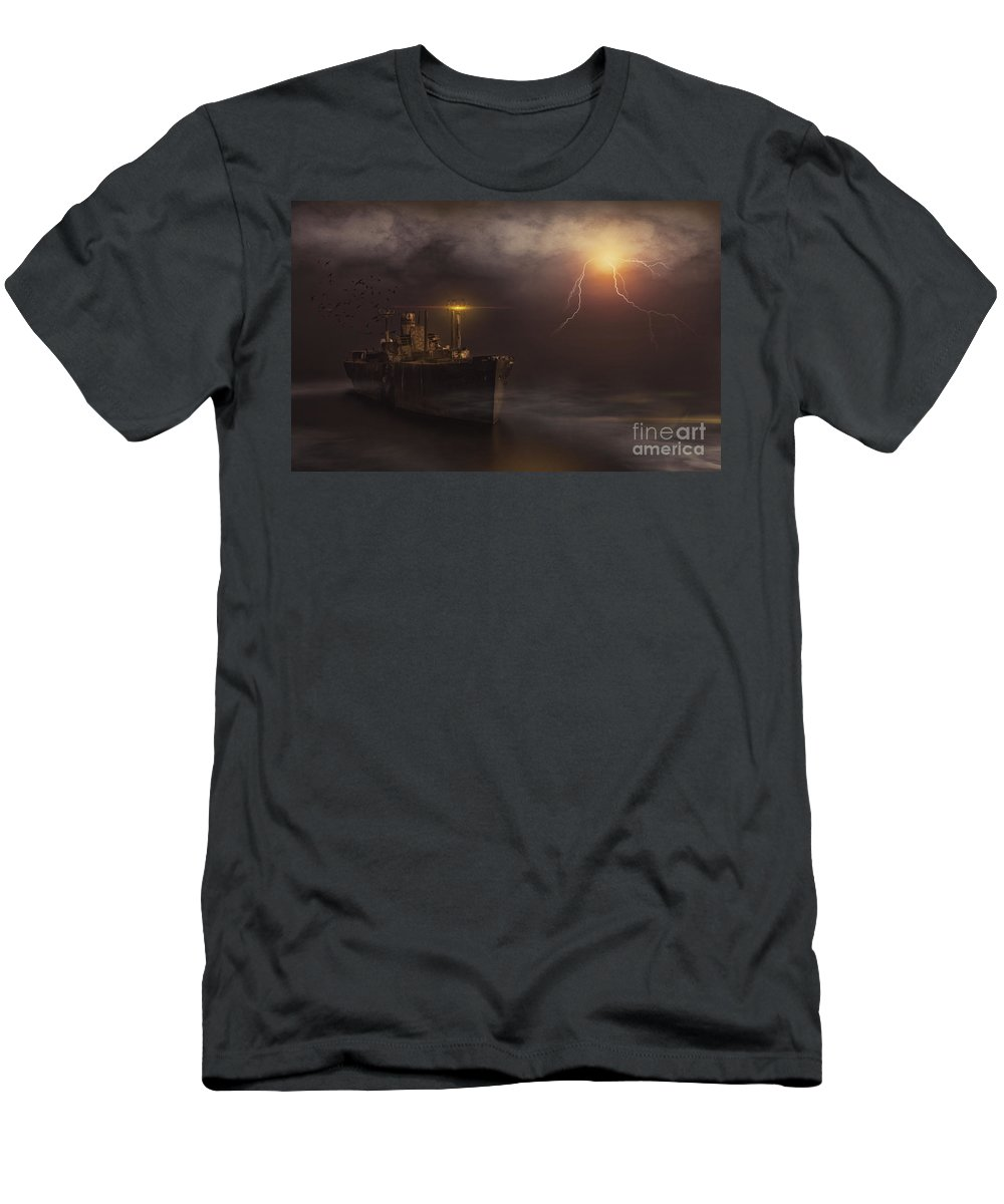 Finart Men's T-Shirt (Athletic Fit) featuring the photograph Last Seen In The Bermuda Triangle by Corneanu Daniel