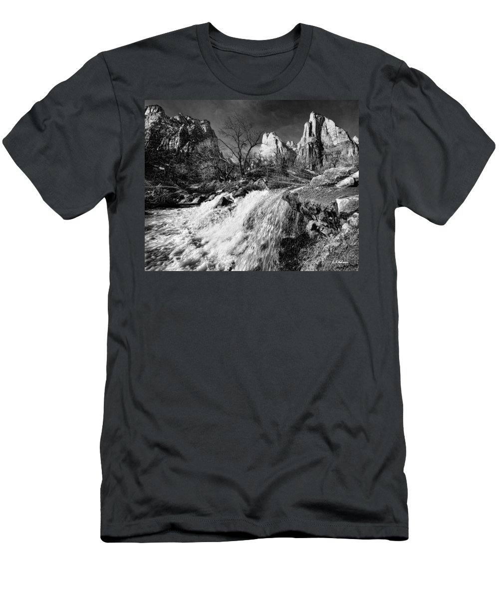Mountains Men's T-Shirt (Athletic Fit) featuring the photograph Late Afternoon At The Court Of The Patriarchs - Bw by Christopher Holmes