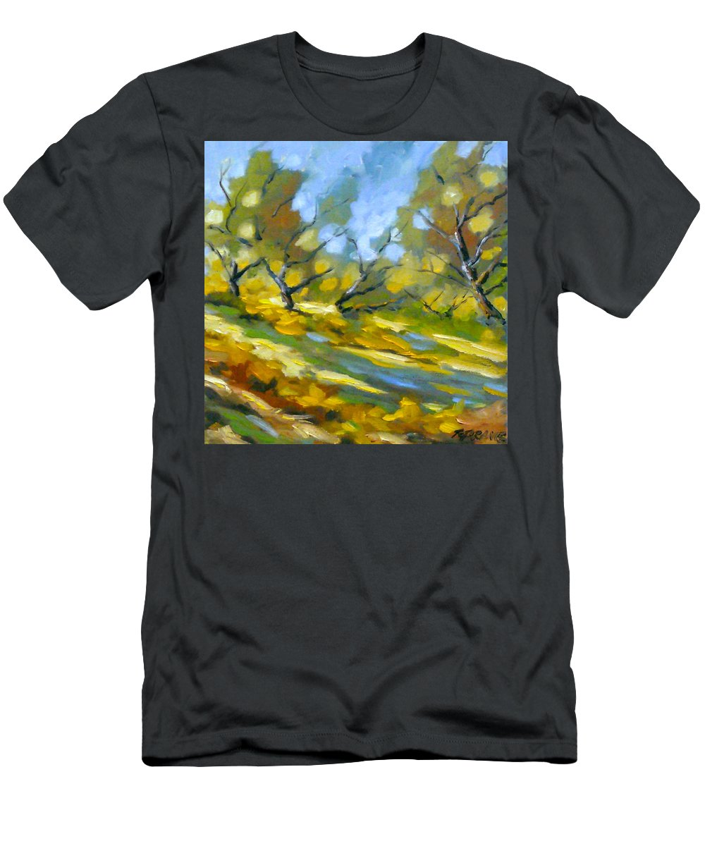 Original Painting; Oil; Landscape; Birches; Trees; Nature; Richard T Pranke; Lake Men's T-Shirt (Athletic Fit) featuring the painting Late Afternoon by Richard T Pranke