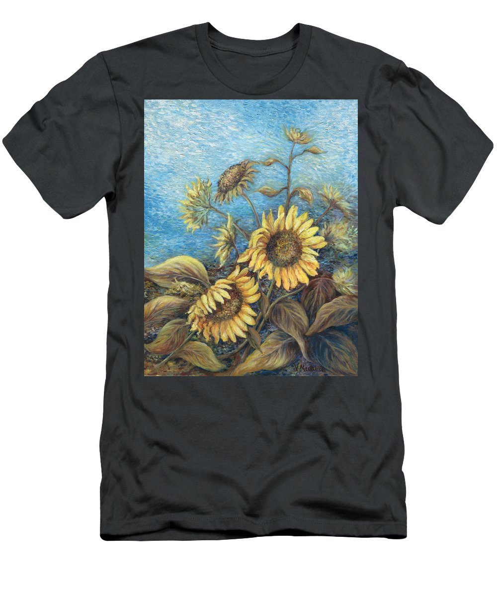 Sunflowers Men's T-Shirt (Athletic Fit) featuring the painting Late Sunflowers by Valerie Meotti