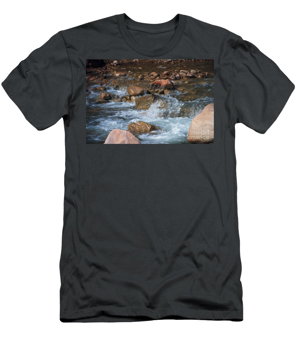 Creek Men's T-Shirt (Athletic Fit) featuring the photograph Laughing Water by Kathy McClure