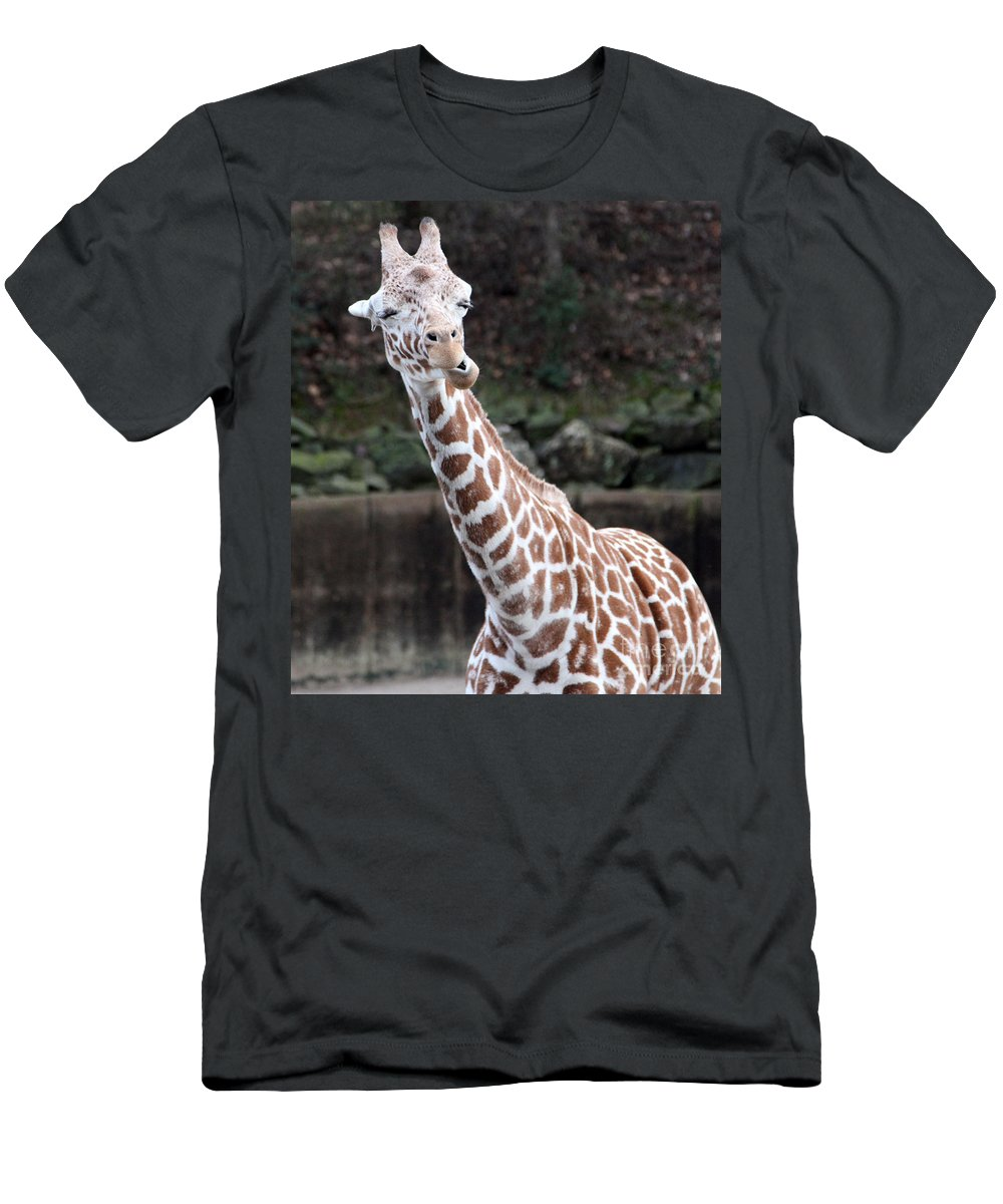 Laughing Giraffe Men's T-Shirt (Athletic Fit) featuring the photograph Laughter by Amanda Barcon