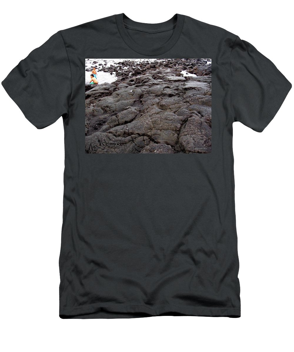Lava Men's T-Shirt (Athletic Fit) featuring the photograph Lava Rock Island by Deborah Crew-Johnson