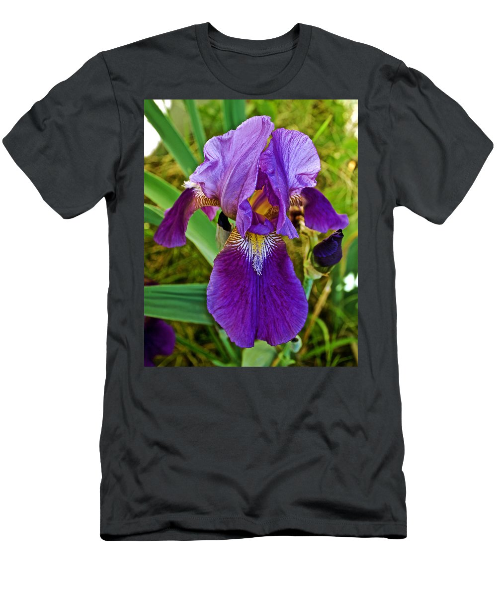 Lavender Iris At Pilgrim Place In Claremont Men's T-Shirt (Athletic Fit) featuring the photograph Lavender Iris At Pilgrim Place In Claremont-california by Ruth Hager