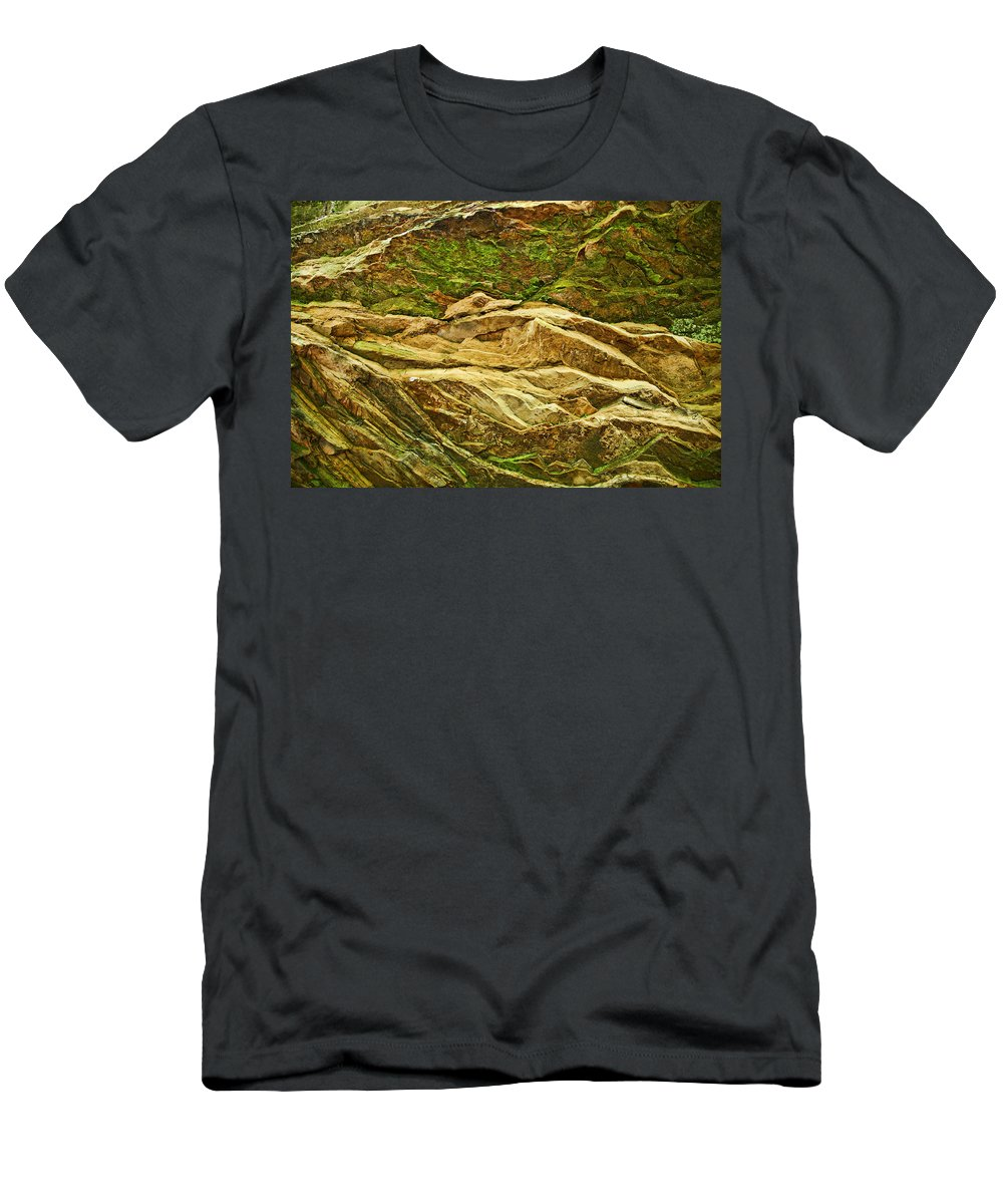 Rocks Layers Geology Moss Photography Photograph Art Digital Men's T-Shirt (Athletic Fit) featuring the photograph Layers by Shari Jardina