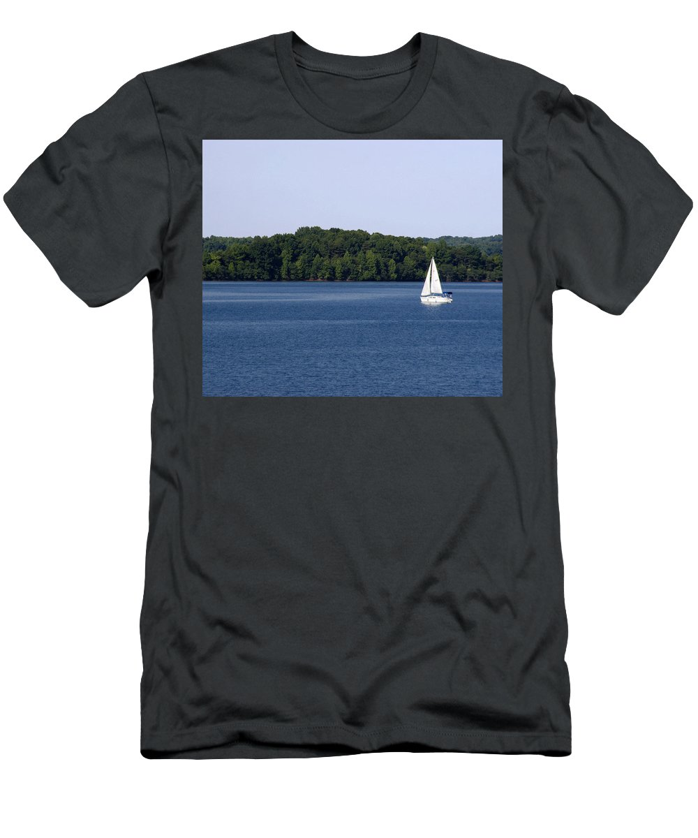 Lake Men's T-Shirt (Athletic Fit) featuring the photograph Lazy Sunday by Jean Macaluso