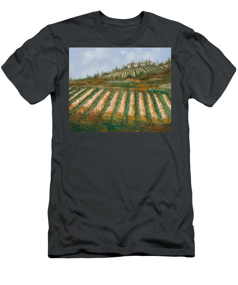 Vineyard Men's T-Shirt (Athletic Fit) featuring the painting Le Case Nella Vigna by Guido Borelli