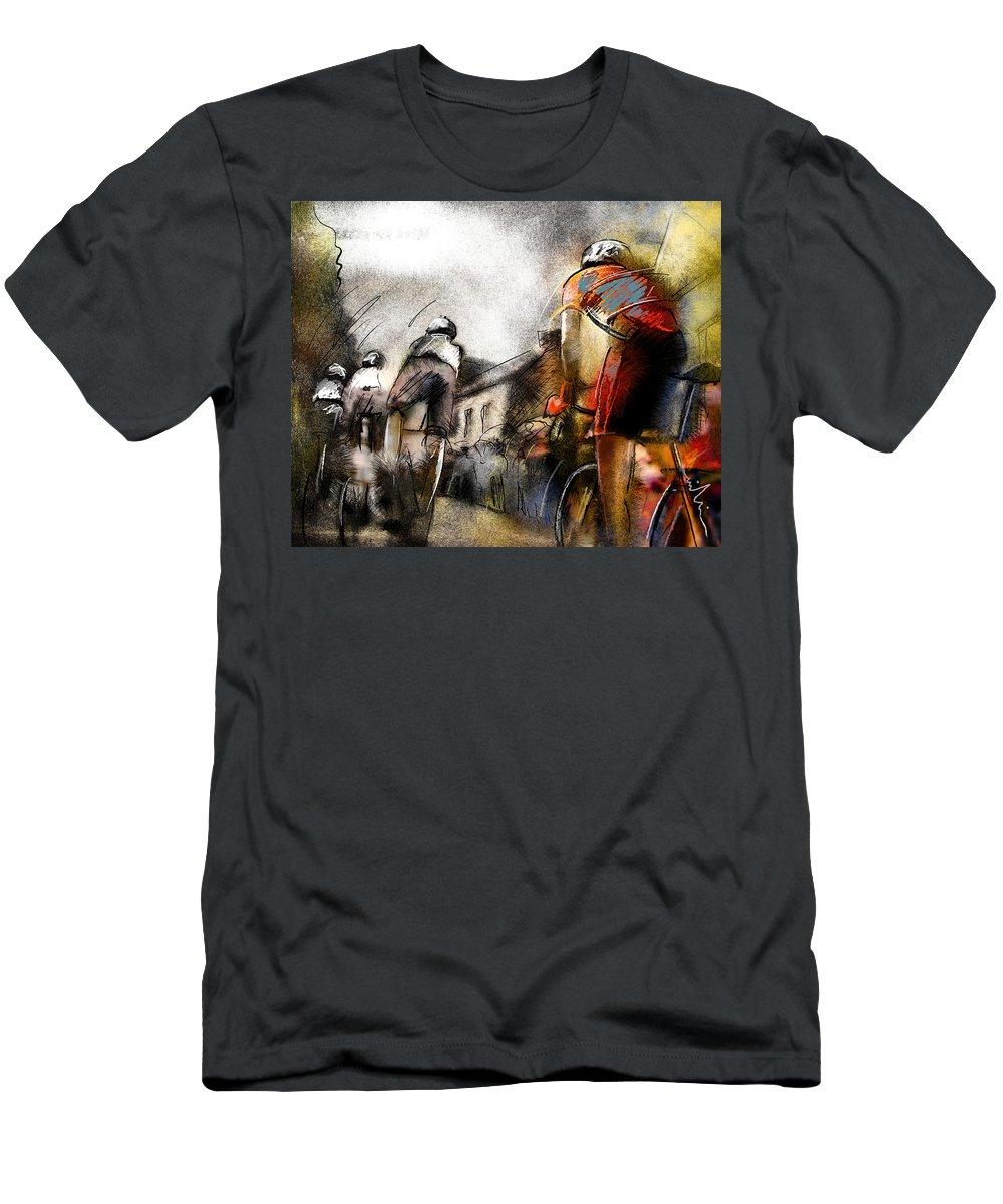 Sports Men's T-Shirt (Athletic Fit) featuring the painting Le Tour De France 06 by Miki De Goodaboom