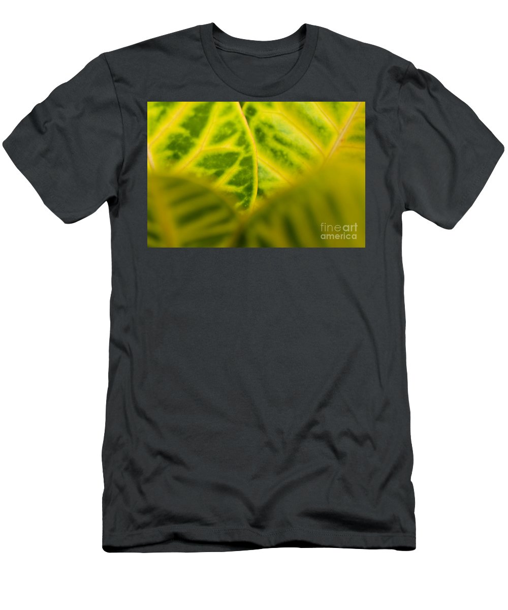 83-pfs0192 Men's T-Shirt (Athletic Fit) featuring the photograph Leaf Abstract by Ray Laskowitz - Printscapes