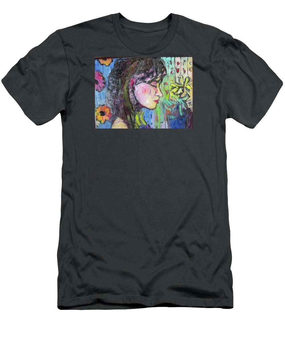 Female Men's T-Shirt (Athletic Fit) featuring the painting Leahannah Up Close by Mykul Anjelo