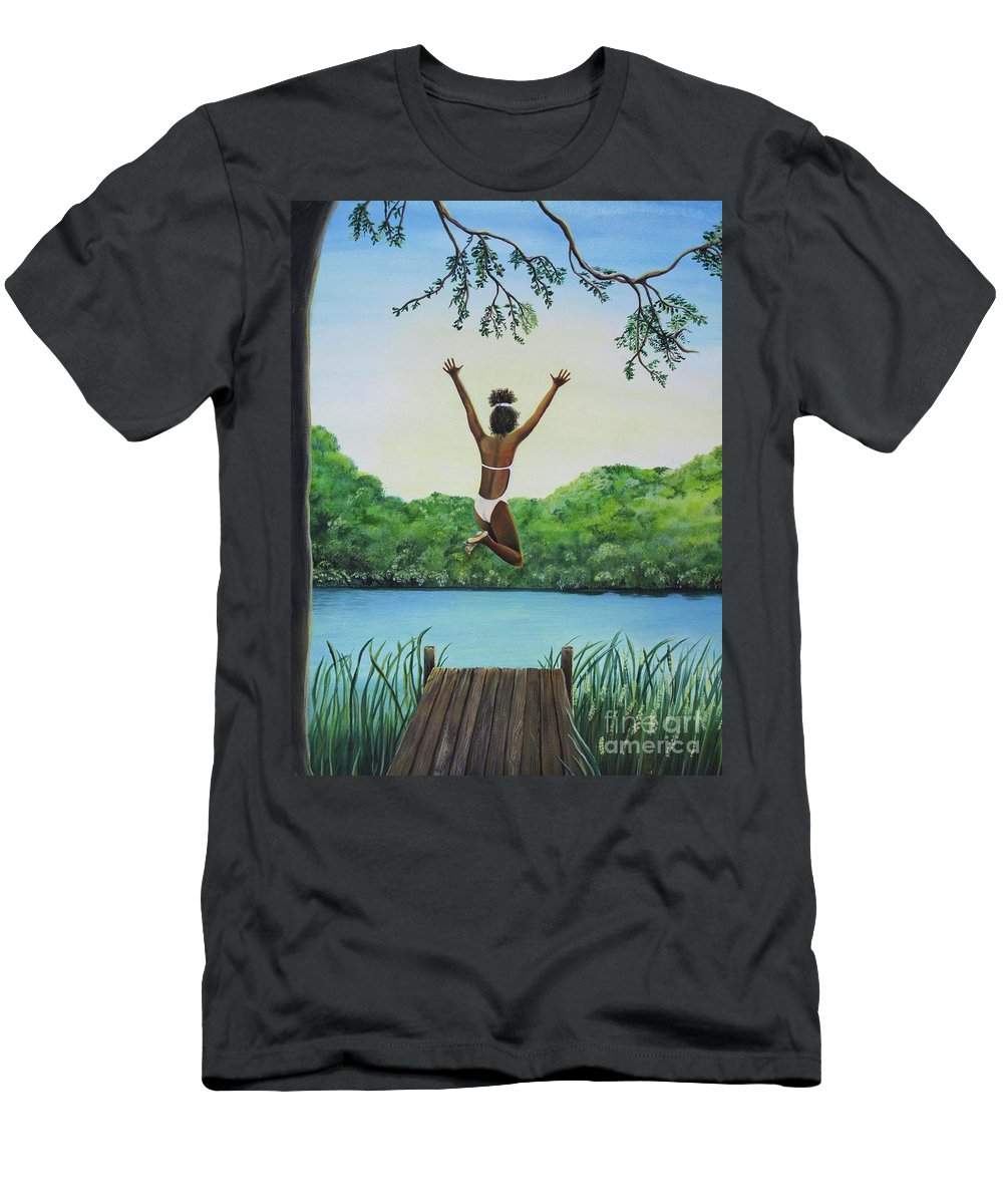 Summer Vacation Men's T-Shirt (Athletic Fit) featuring the painting Leap Of Faith by Kris Crollard