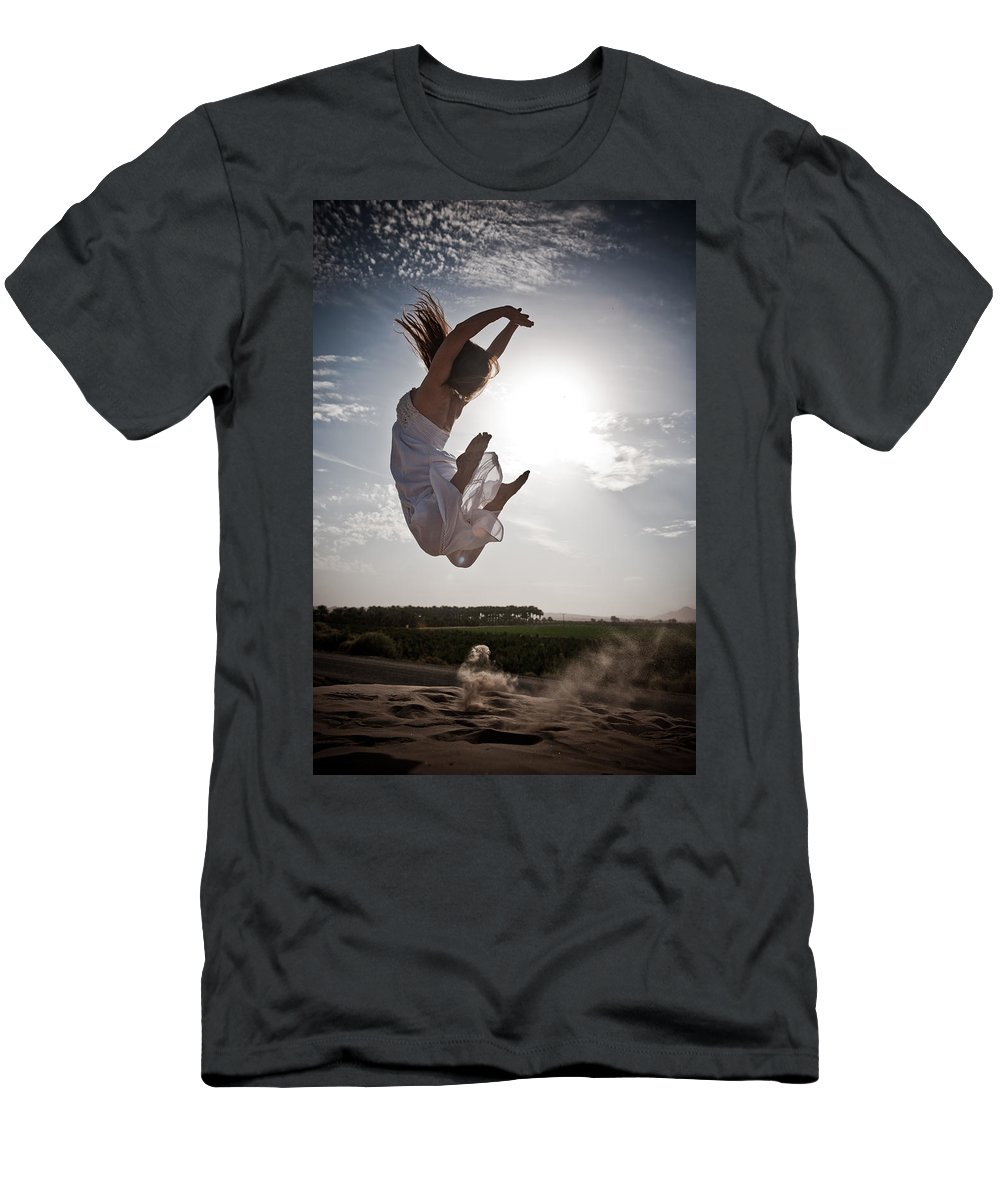 Sun Men's T-Shirt (Athletic Fit) featuring the photograph Leaping For The Sun by Scott Sawyer