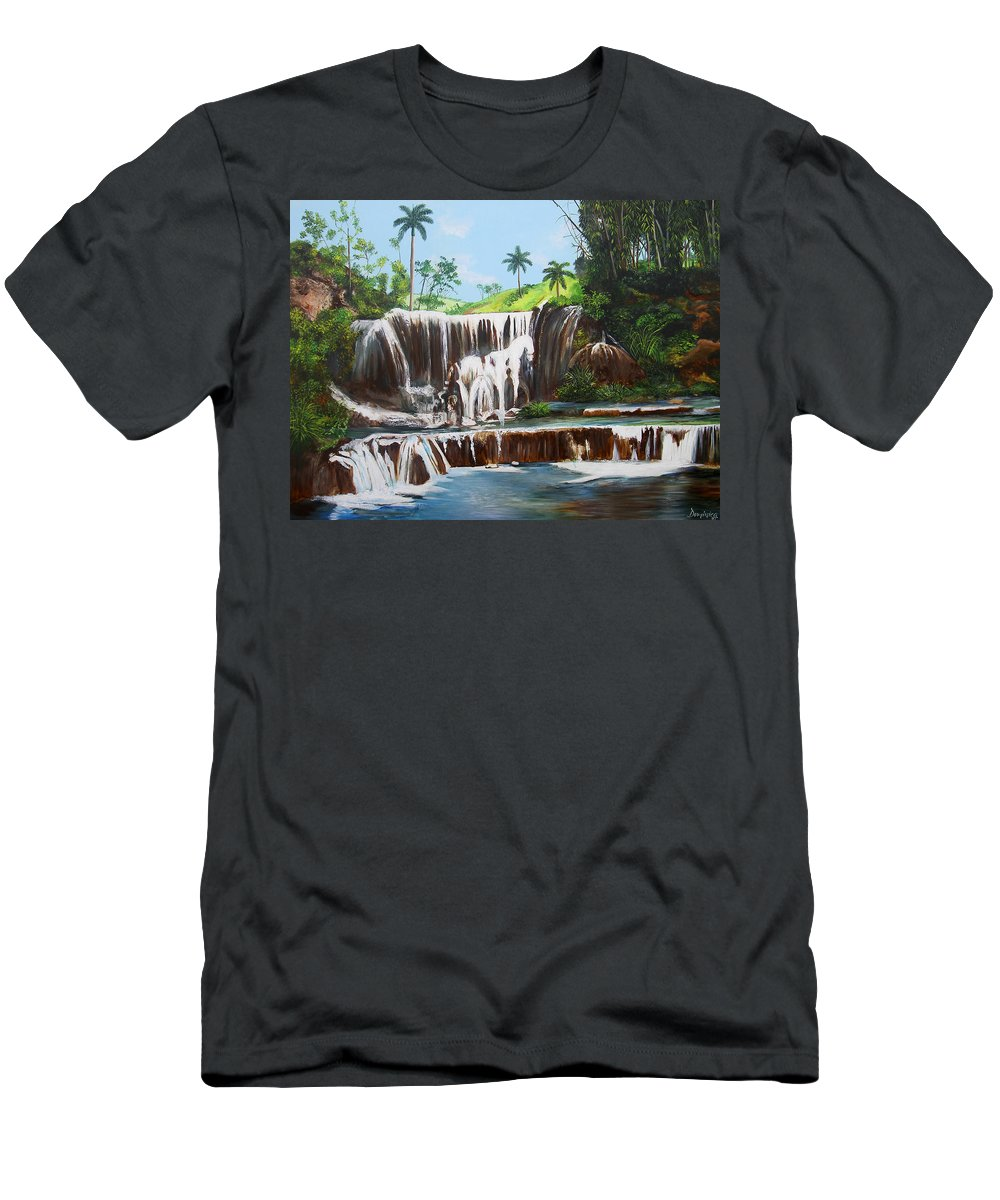 Cuban Waterfall Men's T-Shirt (Athletic Fit) featuring the painting Leaping Waterfall by Dominica Alcantara
