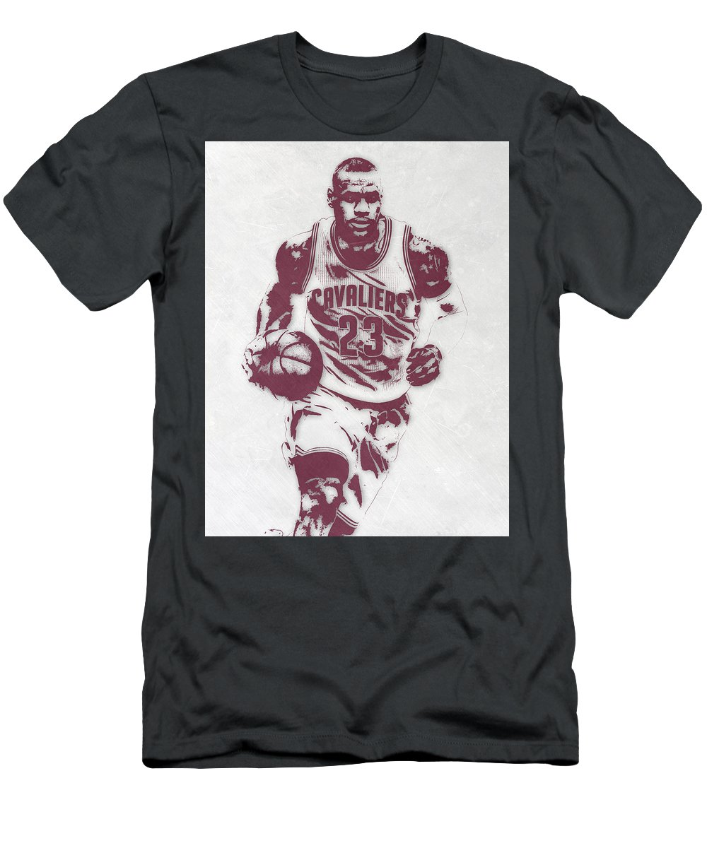 size 40 c64fc dffb1 Lebron James Cleveland Cavaliers Pixel Art 4 Men's T-Shirt (Athletic Fit)