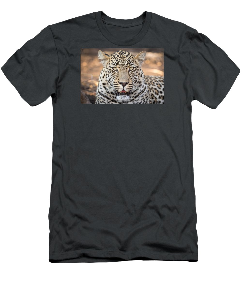Action Men's T-Shirt (Athletic Fit) featuring the photograph Leopard Close Up by Stephan Olivier