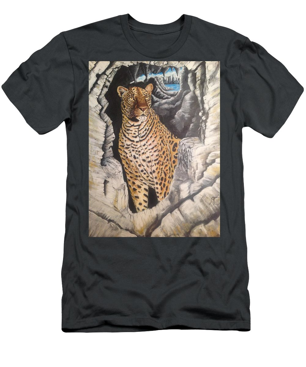 Cat Men's T-Shirt (Athletic Fit) featuring the painting Leopard On The Rocks by Marilyn Comparetto