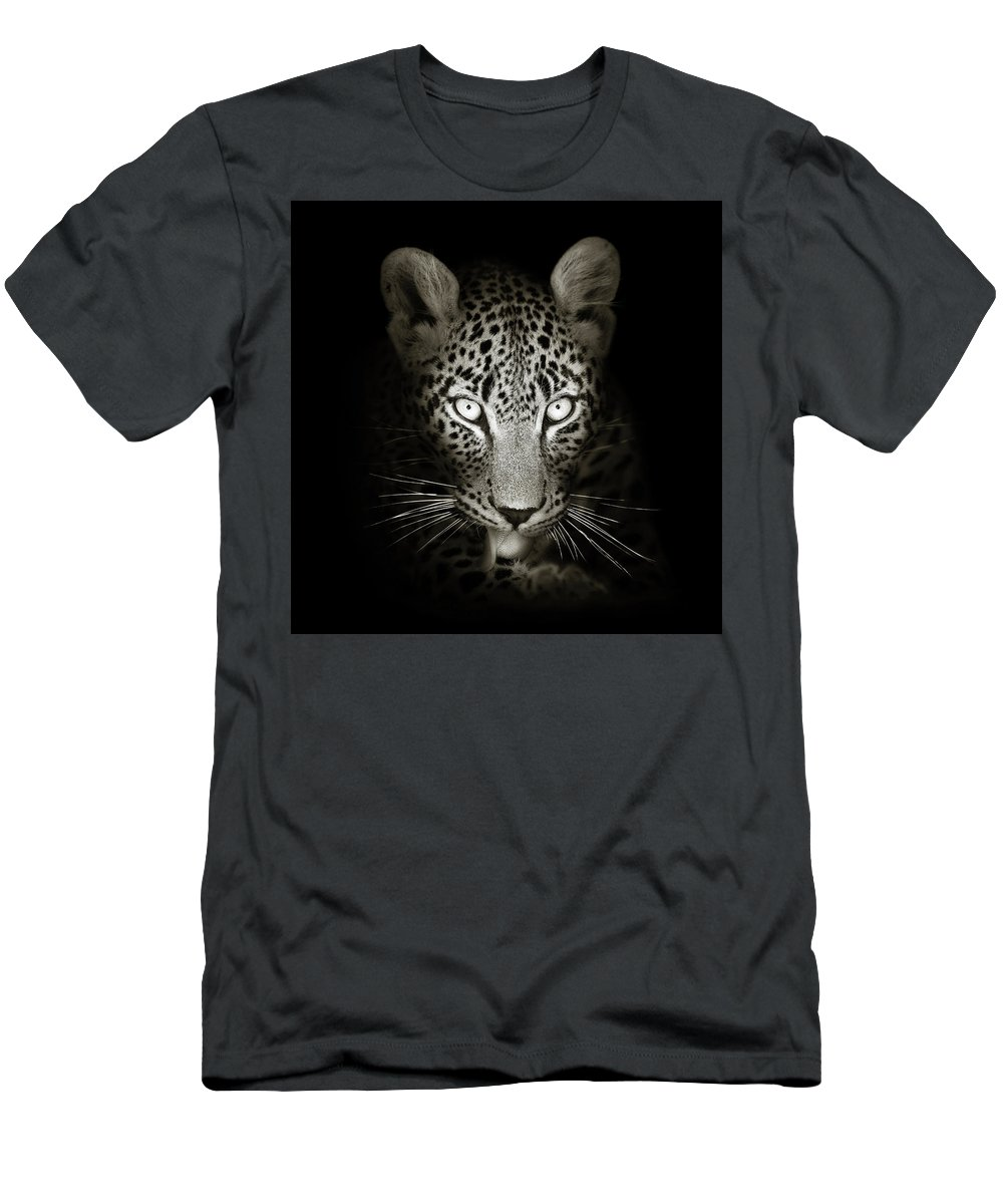 Leopard T-Shirt featuring the photograph Leopard portrait in the dark by Johan Swanepoel