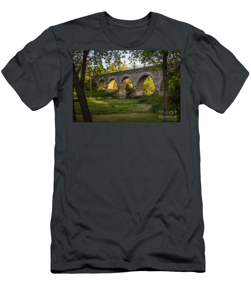 Five Arch Bridge Men's T-Shirt (Athletic Fit) featuring the photograph Let The Light Shine Through by Viviana Nadowski