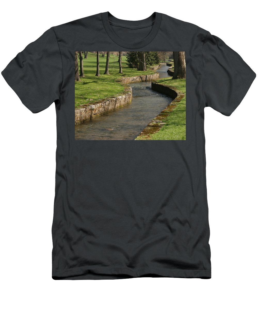 Creek Men's T-Shirt (Athletic Fit) featuring the photograph Letort Spring Run by Jean Macaluso