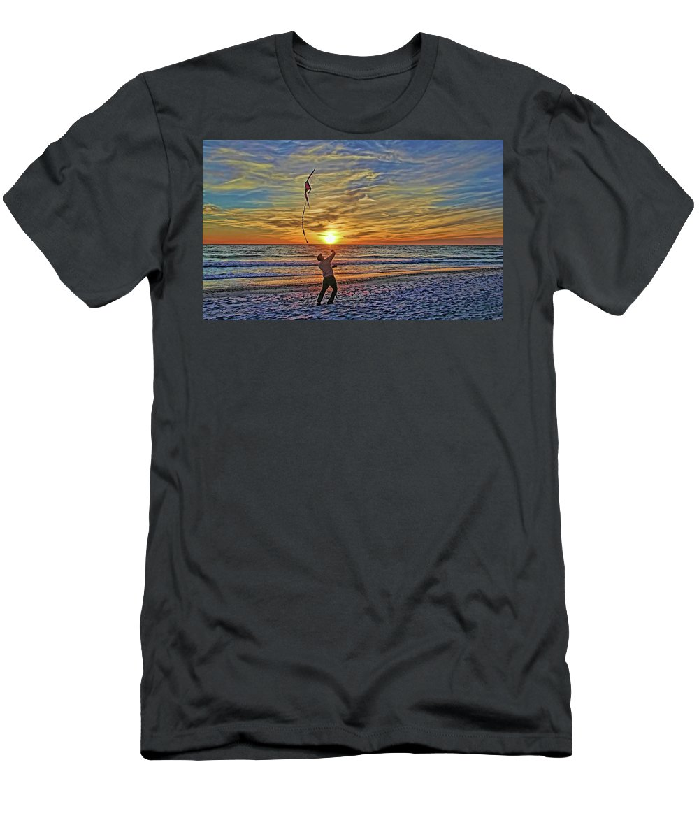 Fly A Kite Men's T-Shirt (Athletic Fit) featuring the photograph Let's Go Fly A Kite by HH Photography of Florida
