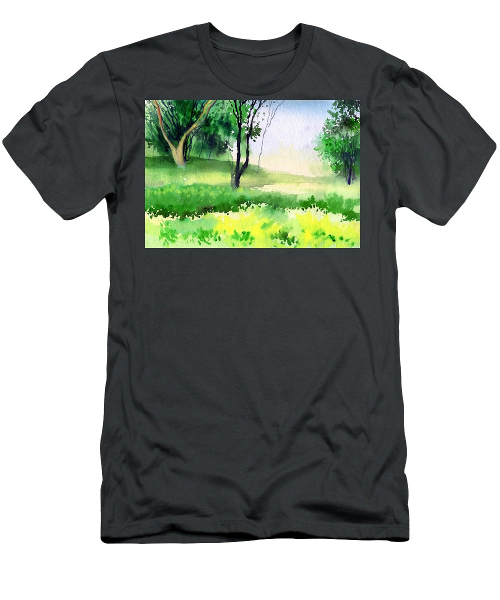 Watercolor Men's T-Shirt (Athletic Fit) featuring the painting Let's Go For A Walk by Anil Nene