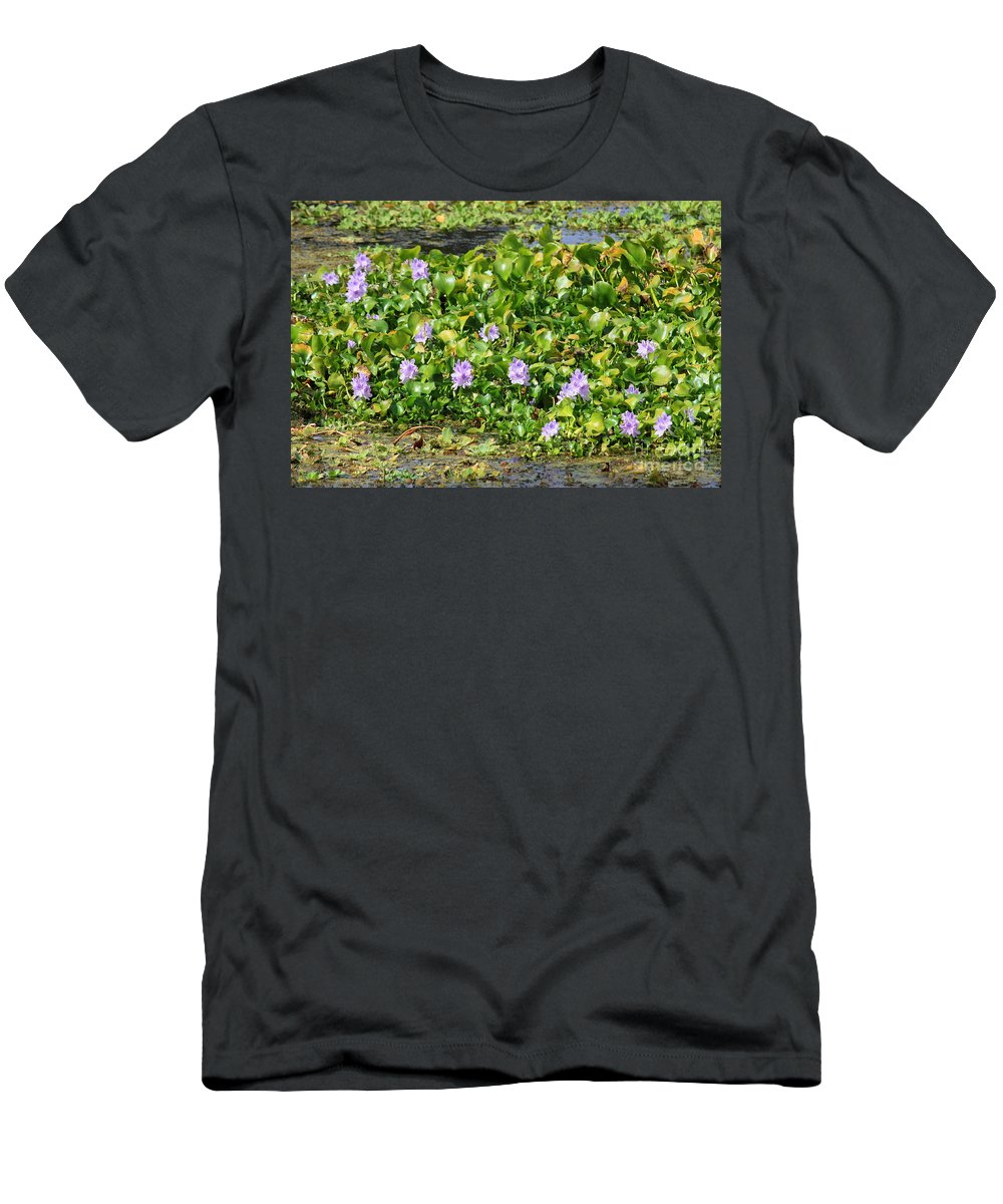 Wetlands Men's T-Shirt (Athletic Fit) featuring the photograph Lettuce Lake Flowers by Carol Groenen